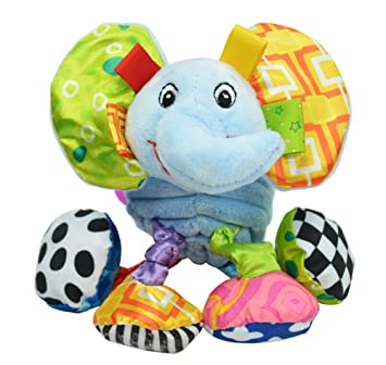 Infant Baby Soft Animal Vibrating Car Seat Stroller Plush Toys Hanging Bell Rattles Doll Elephant