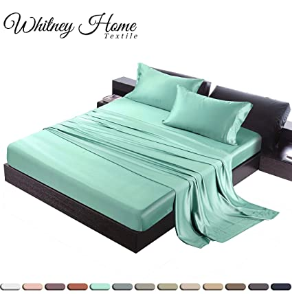 Hotel Quality Silky Soft 100% Bamboo Derived Rayon Turquoise Bed Sheet Set  King 4