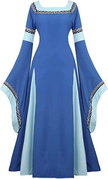 Damen Samt Jahrgang Renaissance Medieval Party Gown Retro Maxi Cosplay Kostüme