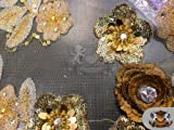 "Sequin Floral Crystal Lace Beads GOLD Fabric / 52"" W / Sold by the yard offers"