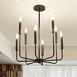 ASGYISA 8-Light Farmhouse Chandeliers Black,Modern Metal Ceiling Light Fixture,Hanging Pendant Light for Dining Room Kitchen Living Room Bedroom Entryway
