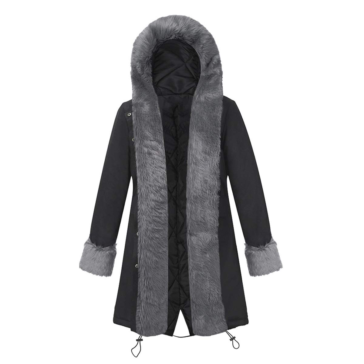 Black5 Womens Winter Warm Thicken Long Sleeve Faux Fur Collar Hooded Parka Jacket Coat