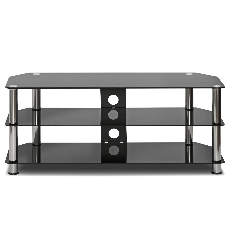 Rectangle Furinno FRL16M4BK Silk Screen Glass Corner TV Stand