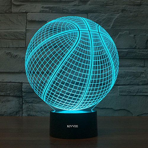 (3D Desk Lamp Basketball Round Shape Gift Acrylic Night light LED lighting Furniture Decorative colorful 7 color change household Home Accessories)