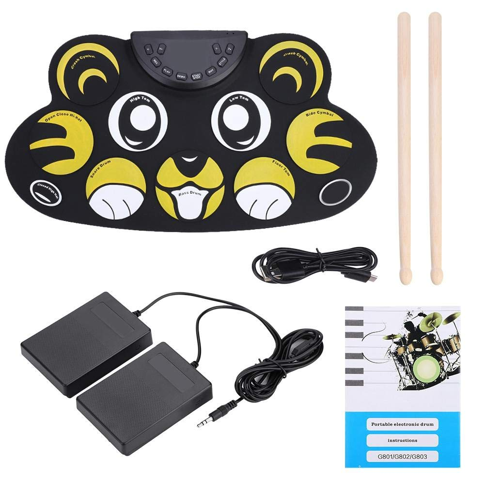 Electronic Drum Set, Portable Roll-Up Drum Pad Set Kit with Sticks for kids