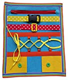 zipper board - Yoovi Montessori Learn to Dress Boards Toddler Felt Busy Board Kids Quiet Boards Baby Educational Travel Toys - Zip,Button, Buckle, Lace, Early Learning Basic Life Skills Soft Toy