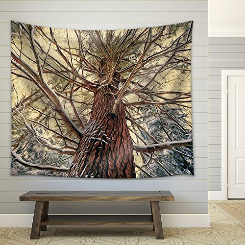 a Low Angle Shot of a Eastern White Pine Tree in a Snowy Forest During the Winter Season Fabric Wall Tapestry