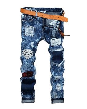 Yonglan Hombre Skinny Jeans bordados de Parche denim Elásticos Pantalones Agujero jeans As Picture 40 gctTIh3Zbc