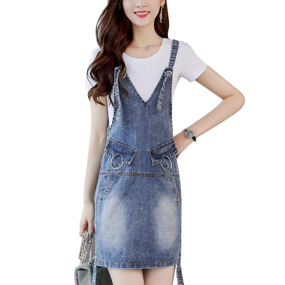 Meiyiu Women Stylish Denim Skirt Shoulder Strap Suspender Skirt Casual Daily Wear Outfits Gift Denim Blue (Single Skirt) XXL