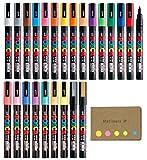 Uni Posca Paint Marker Pen PC-3M Fine Point 24 Colors, Sticky Notes Value Set