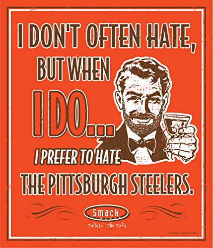 Smack Apparel Cleveland Browns Fans. I Prefer to Hate The Pittsburgh Steelers 12'' X 14'' Orange Metal Fan Cave Sign