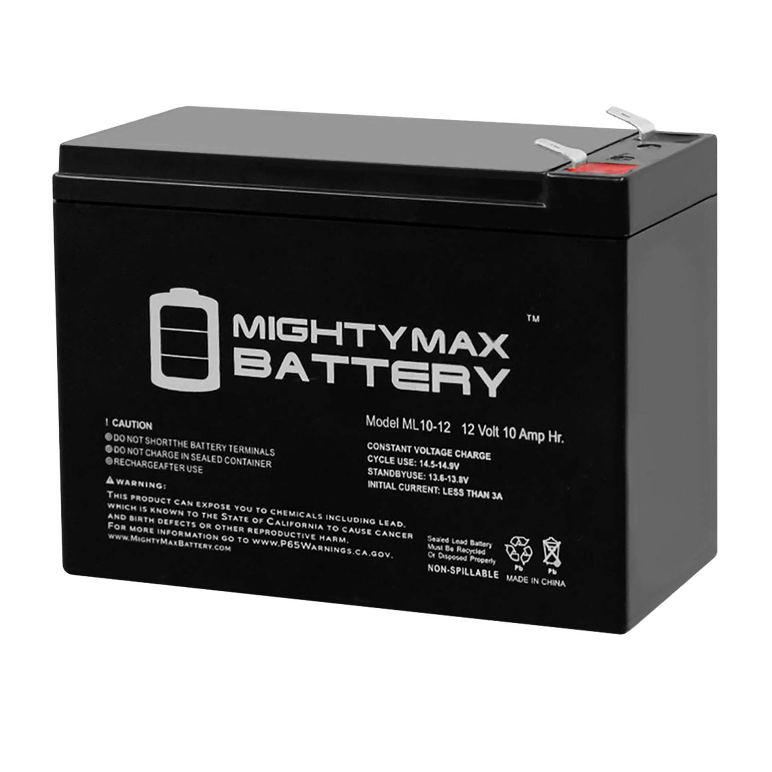 Mighty Max Battery 12V 10AH Battery Replaces PS10-12, PS1012, MK ES10-12S + 12V Charger Brand Product