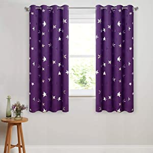 Anjee 45 Inch Curtains for Girls Bedroom Purple Curtain Silver Stars Kids Room Darkening Window Drapes Light Blocking Privacy Drapery Panels Home Decoration Gifts, Purple 38x45 Inches