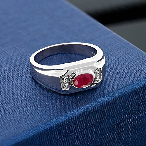 202-Ct-Oval-Natural-Red-Ruby-White-Diamond-925-Sterling-Silver-Mens-Ring-Available-in-size-7-8-9-10-11-12-13