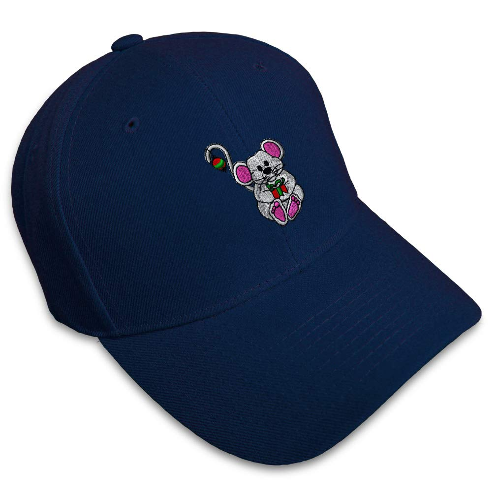 Custom Baseball Cap Xmas White Mouse with Gift Embroidery Acrylic Strap Closure