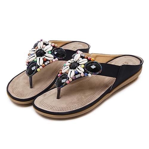 34 44 De Verano playa Planas Sandalias Grande Zapatos Bohemia Mujer talla chanclas Dedo IYbf7gvy6