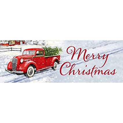 Christmas Red Truck.Custom Decor Merry Christmas Red Truck Sign By Inc