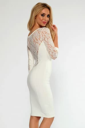 Sunshine Sexy Cream Lace Insert Midi Dress White One Size For Women