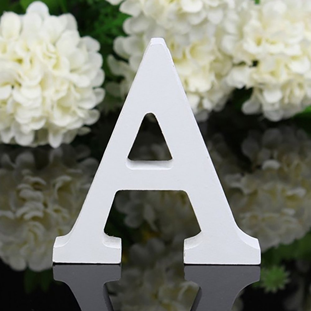 Bodhi2000 White Wooden Letters Alphabet for Wedding Birthday Home Decorations (A)