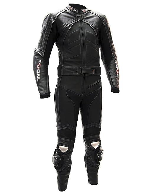 Tschul® Combinazione moto di pelle 750 ALL BLACK  Amazon.it  Abbigliamento da2e779e12b
