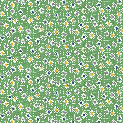 Marcus Aunt Grace Flowers Pots II Green with White Flowers Cotton Fabric