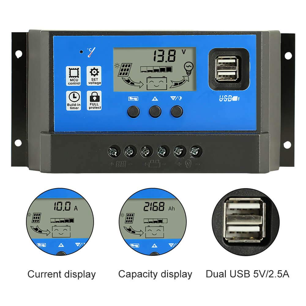 PowMr 60a Charge Controller - Solar Panel Charge Controller 12V 24V,Adjustable Parameter LCD Display Current/Capacity and Timer Setting ON/Off with 5V Dual USB(CM-60A) by PowMr (Image #4)