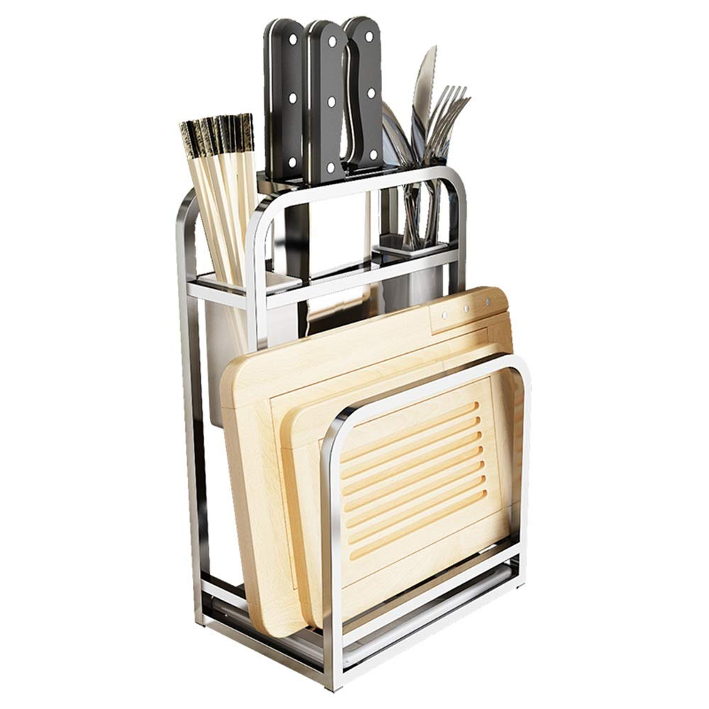 HUO 304 Stainless Steel Kitchen Knife Holder Knife Cutting Board Multifunctional Kitchen Supplies Rack Multifunction