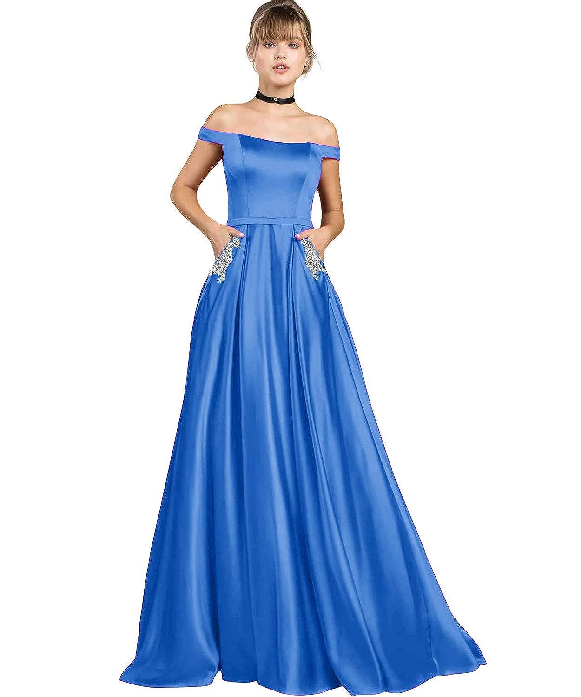 bluee Yilis Women's High Neck Halter A Line Satin High Low Prom Dress Wedding Evening Dress
