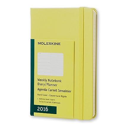 Moleskine 11427 - Agenda semanal 2016, 12 meses, tamaño bolsillo, color amarillo pajizo