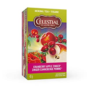 Celestial Seasonings Herb Tea Cranberry Apple Zinger, 20 Count (Pack of 6)