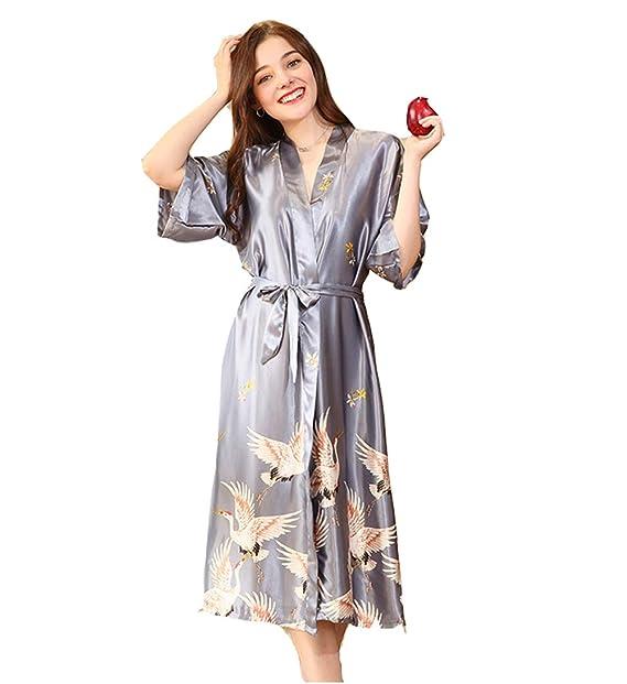 Kimono Mujer Pijama Batas Largas Lenceria Imprimir Seda Ropa de Dormir: Amazon.es: Ropa y accesorios