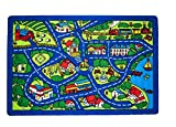 Kids / Baby Room / Daycare Town Map Fun Race Car Tracks School Farm Blue Bright Colorful Vibrant Colors (3 Ft.3 In. X 4 Ft.10 In.)