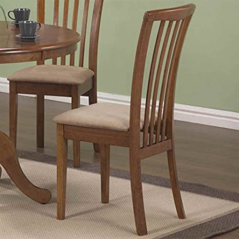 101092 Brannan Side Chair With Upholstered Seat In Warm Maple Finish Set Of