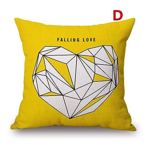 Amazon.com: Funda de almohada de lino y algodón con diseño ...