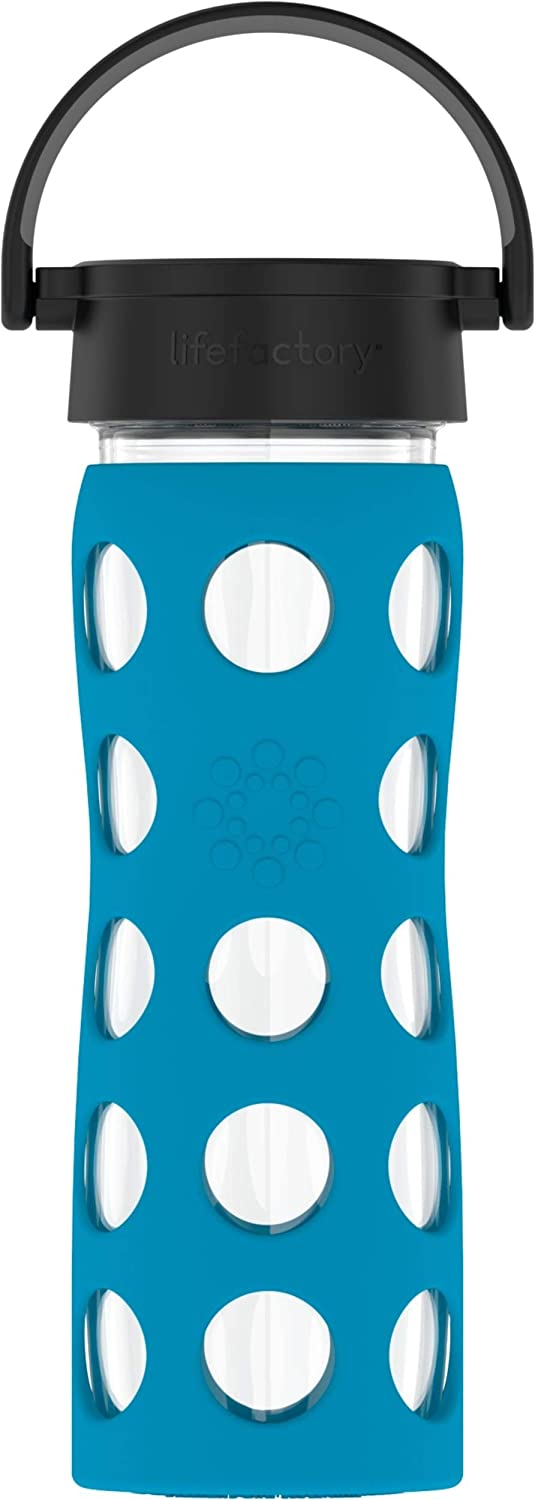 Lifefactory 16-Ounce BPA-Free Glass Water Bottle with Classic Cap and Protective Silicone Sleeve, Teal Lake