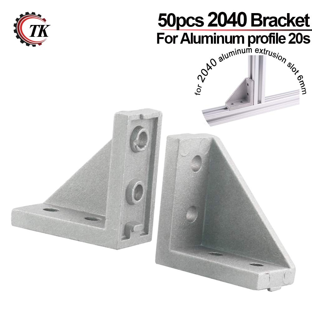 Gimax 50pcs Corner Fitting Angle 20x20 20X40 2040 Decorative Brackets Aluminum Profile Accessories L Connector Fasten Connector