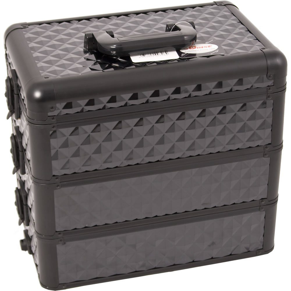 Sunrise E3303 Pro 3-in-1 Makeup Artist Cosmetic Train Case Organizer with 3 Stackable Trays with Dividers, Diamond Black E3303DMAB