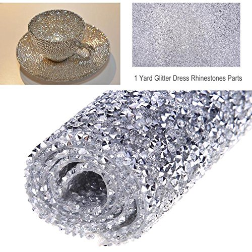 (Rhinestones - 1 Yard 23x40cm Fix Glitter Dress Rhinestones Motifs Cloth Parts Iron On Patches Applique Fix Strass - Plus Diamonds Ribbon Sizes Jacket Embroidery Trim Flat Gold)