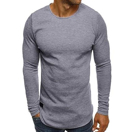 Yvelands Camiseta de Manga Larga para Hombre Suéter de tripulación Casual Blusa Superior Otoño Invierno.: Amazon.es: Ropa y accesorios