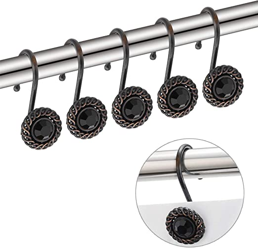 Curtain Rod Shower Curtain Hooks Ring Rings Shower Curtain Liner Shower Curtains Shower Curtain Rod Shower Rings Metal Clips Curtain Clip Rings with Strong Clips Curtain Rods Tension Curtain Rod 18PCS