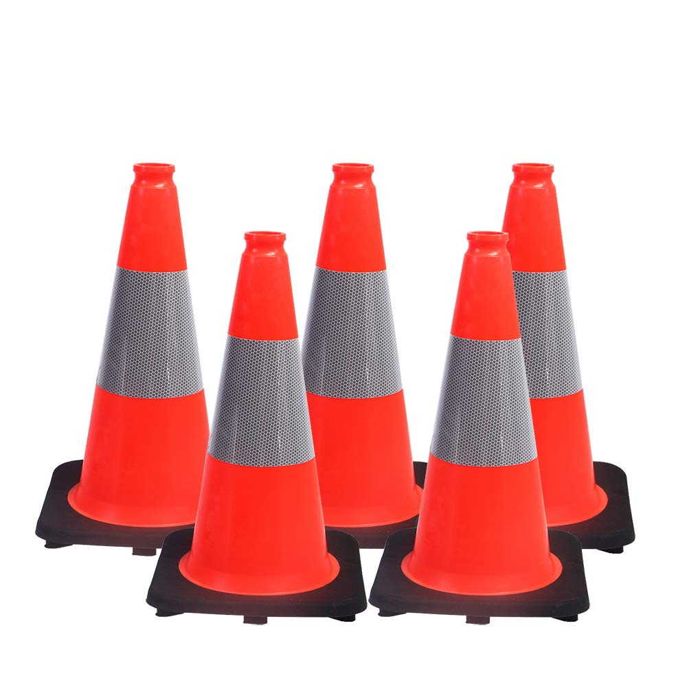 (Pack of 5) Orangeplas 18'' Orange PVC Safety Traffic Cone Black Base Construction Road Parking Cones with 6'' Reflective