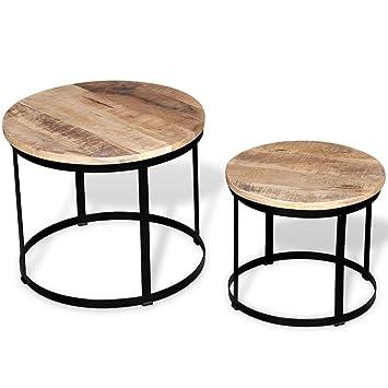 Table Basse Gigogne Bois.Festnight Lot De 2 Table Basse Gigognes Bois Massif Rond Design Et Modernes