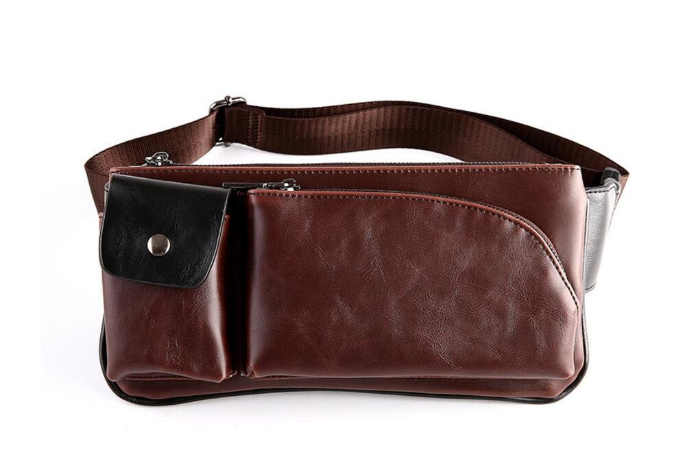 XibeiTrade Men's Pu Leather Fanny Chest Bag Messenger Shoulder Satchel Waist Bags Pack (Coffee)