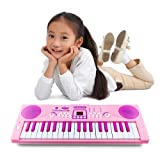 Kids Piano, Sanmersen 37 Key Multi-function Electronic Keyboard Piano Play Piano Organ with Microphone Educational Toy for Toddlers Kids Children (Pink)
