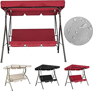 Feian Universal Replacement Swing Canopy,2pcs/Set Waterproof Sunproof Canopy Patio Swing Seat Cover for 3 Seater Solid