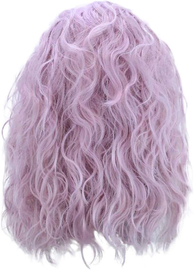 SMILEQ Moda Mujer Encaje Frontal Peluca de Onda Corta púrpura ...