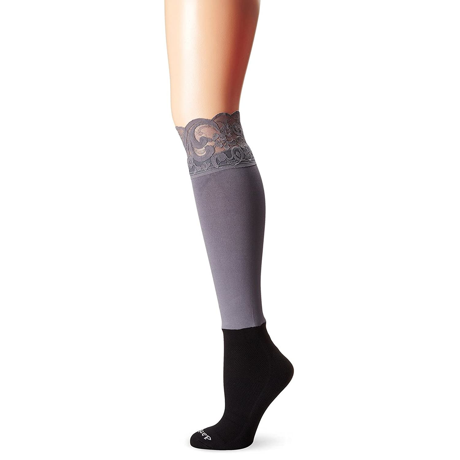 Bootights Womens Lacie Lace Knee Hi & Ankle Sock All-in-One (Grey)