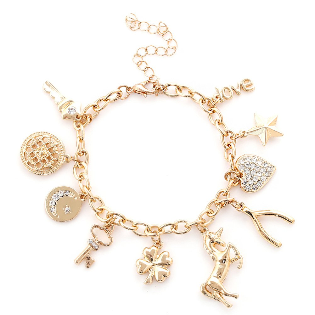 ALEXY Women's Link Charm Bracelet Unicorn Clover Star Heart Pendant Charms Bracelet Bangles for Girls B07CZF2Q17_US