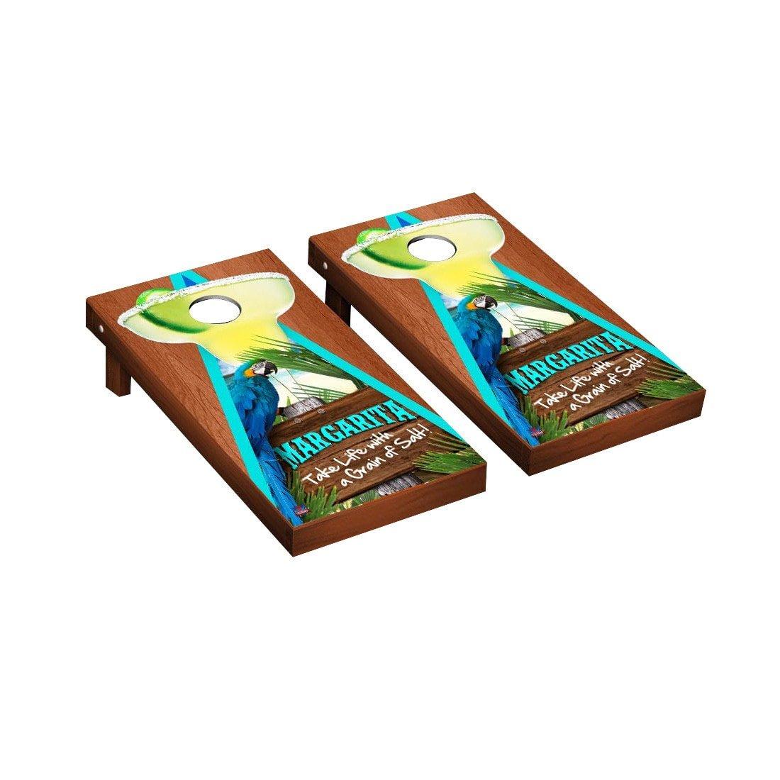 MargaritaビーチテーマCornhole Game SetローズウッドStained三角形バージョン1 B018UKLMRG