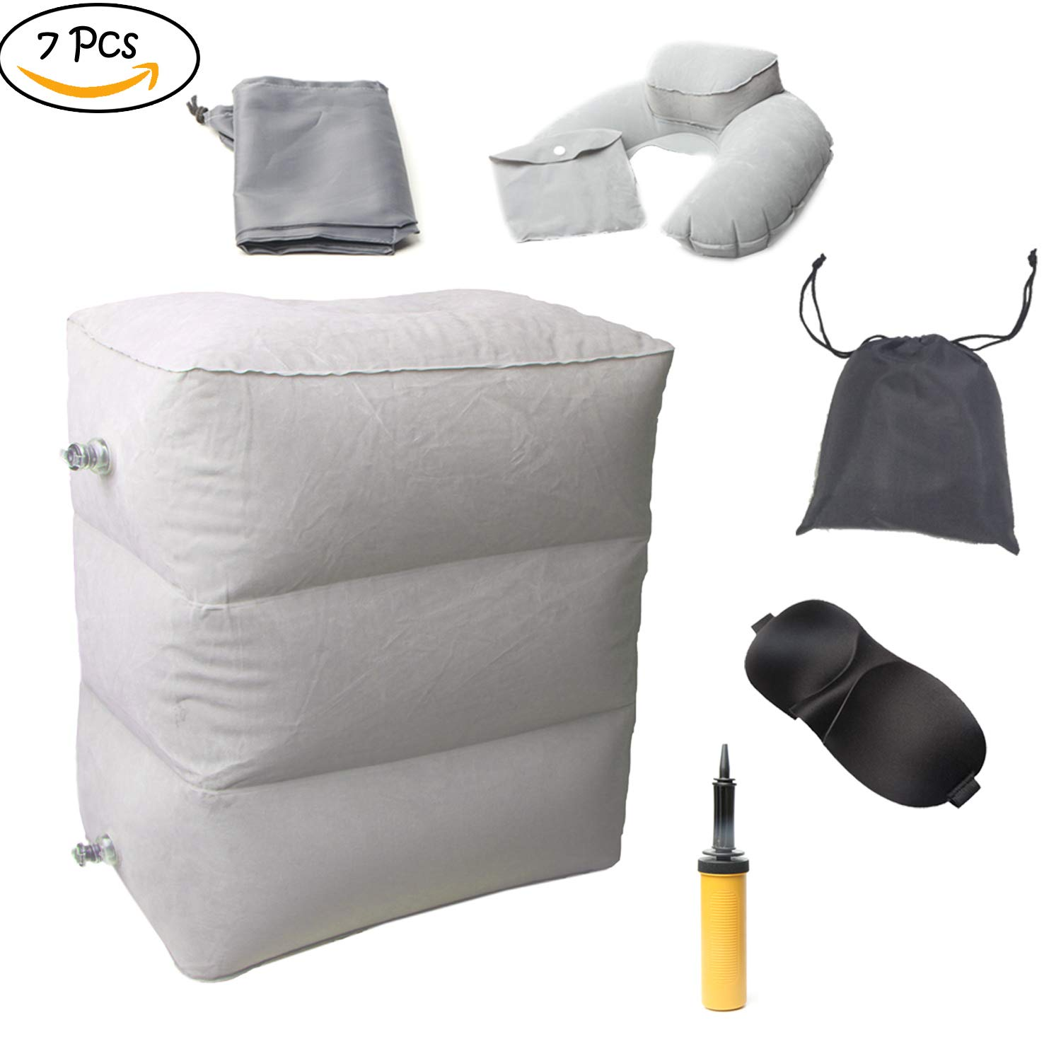 Sxiuyou Inflatable Airplane Footrest Rest Pillow - Adjustable Leg Rest Kids, Adults on AirPlane, Car, Bus, Office, Trains, Home with 3D Sleeping Mask, Drawstring Bag, Bottom Dust Cover, Inflator